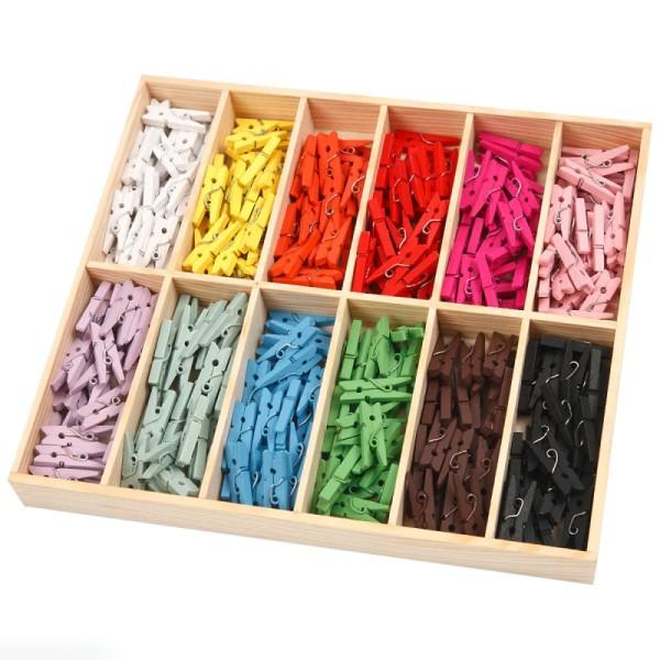 Mini pinces à linge Multicolores - 2,5 cm - 288 pcs - Photo n°1