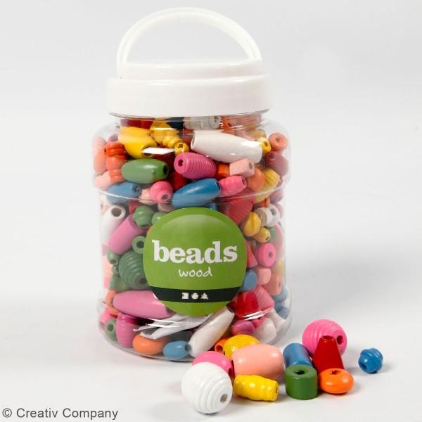 Assortiment Perles en bois - Multicolore - 115 g - Photo n°2