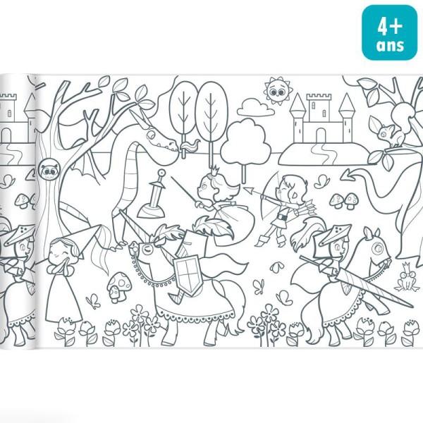 Rouleau de papier à colorier Graffy Roll - Princesses et chevaliers - 35 cm x 5 m - Photo n°1