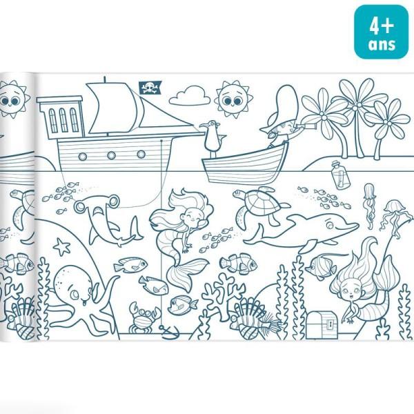Rouleau de papier à colorier Graffy Roll - Pirates et sirènes - 35 cm x 5 m - Photo n°1