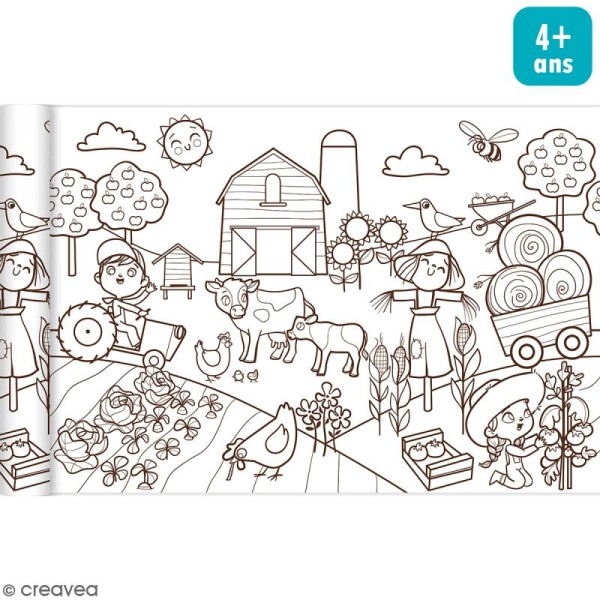 Rouleau de papier à colorier Graffy Roll - Le petit monde agricole - 35 cm x 5 m - Photo n°1