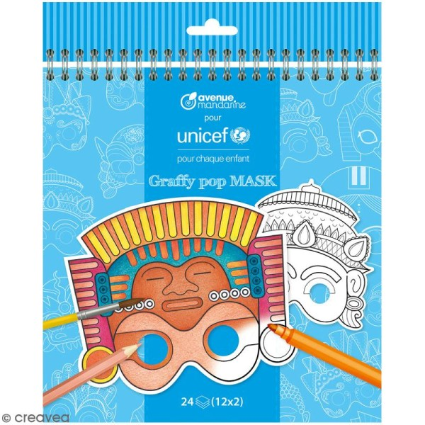 Masques à colorier et découper Graffy Pop - Collection UNICEF - 24 pages - Photo n°1