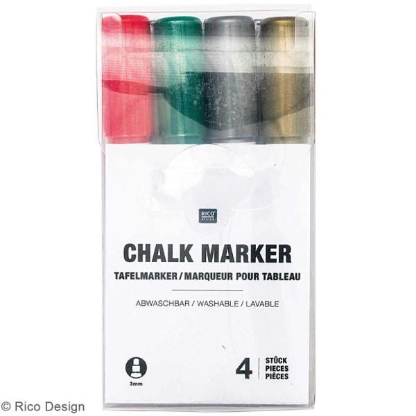 Set marqueurs craie Chalk Rico Design - Pointe 3 mm - Noël - 4 pcs - Photo n°1