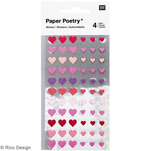 Mini stickers géométriques - Coeurs Roses - 4 planches - Photo n°1