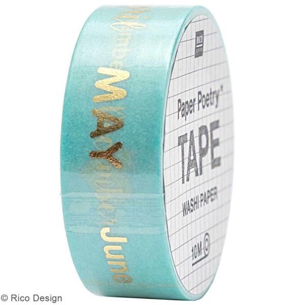 Masking Tape Bullet Journal - Mois - Turquoise et doré - 1,5 cm x 10 m - Photo n°1