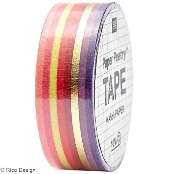 Masking Tape - Bandes Roses et dorées - 1,5 cm x 10 m - Photo n°1