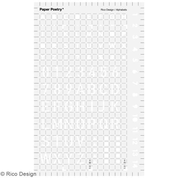 Pochoir d'écriture pour bullet journal Rico Design - Lettres - 9,5 x 15 cm - Photo n°1