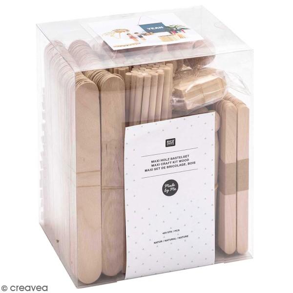 Set de bâtonnets en bois pour bricolage - 420 pcs - Photo n°1