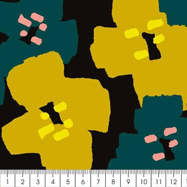Coupon de Toile coton Made by me - Fleurs vertes détails fluo - Fond noir - 50 x 140 cm - Photo n°2