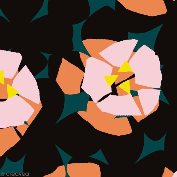 Coupon de Toile coton Made by me - Fleurs roses détails fluo - Fond vert - 50 x 140 cm - Photo n°1