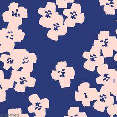 Coupon de Toile coton Made by me - Fleurs roses - Fond bleu marine - 50 x 140 cm