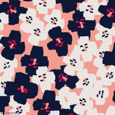 Coupon de Toile coton Made by me - Fleurs noires - Fond rose - 50 x 140 cm