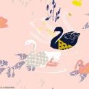 Coupon de Toile cirée Made by me - Cygnes noirs détails fluo - Fond rose - 50 x 140 cm