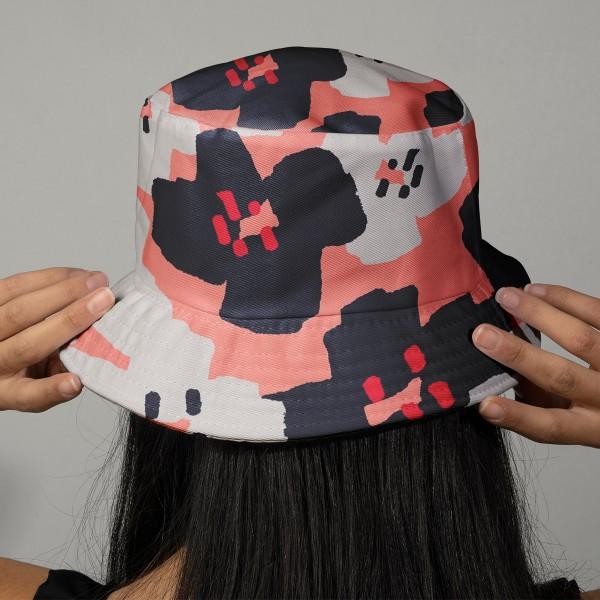 Coupon de Toile cirée Made by me - Fleurs roses et noires - Fond rose - 50 x 140 cm - Photo n°2