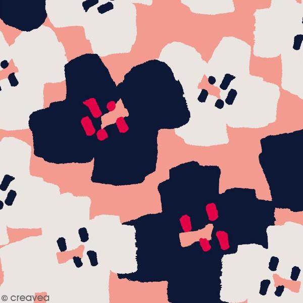Coupon de Toile cirée Made by me - Fleurs roses et noires - Fond rose - 50 x 140 cm - Photo n°1