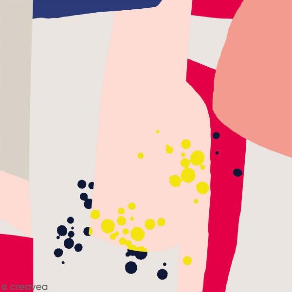 Coupon de Toile cirée Made by me - Motif graphique détails fluo - Fond gris clair - 50 x 140 cm - Photo n°1