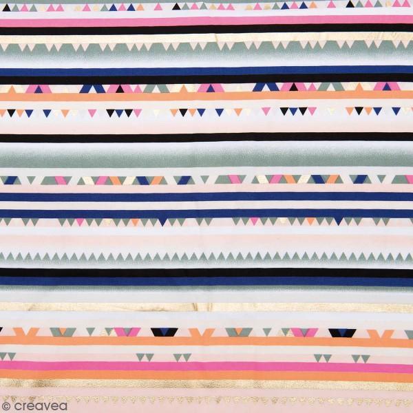 Coupon de Toile coton Made by me - Rayures hot foil - Multicolore - 50 x 140 cm - Photo n°1