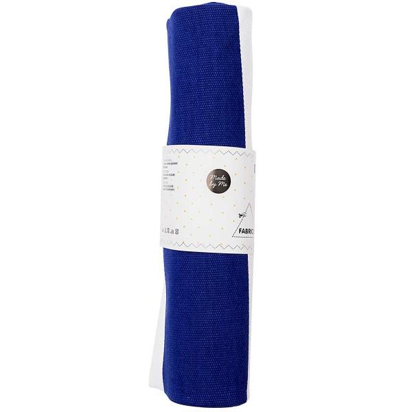 Coupon de Toile coton épais - Rayures bleues - Fond blanc - 50 x 140 cm - Photo n°3