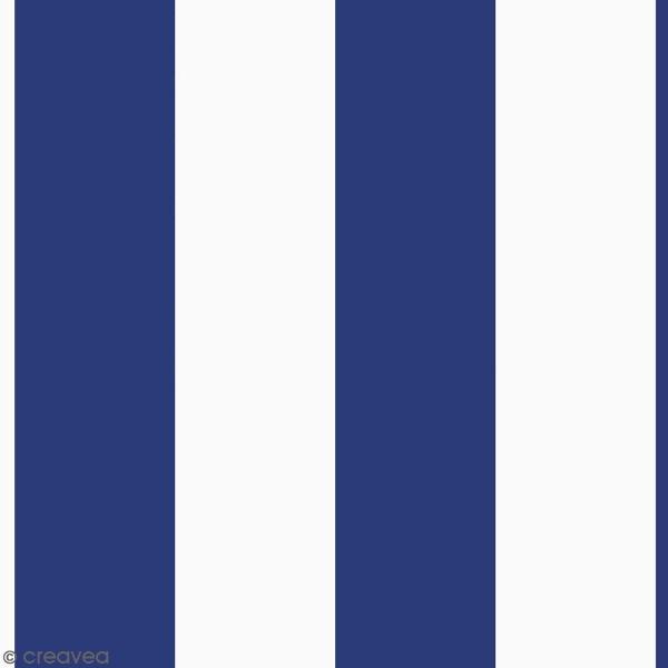Coupon de Toile coton épais - Rayures bleues - Fond blanc - 50 x 140 cm - Photo n°1