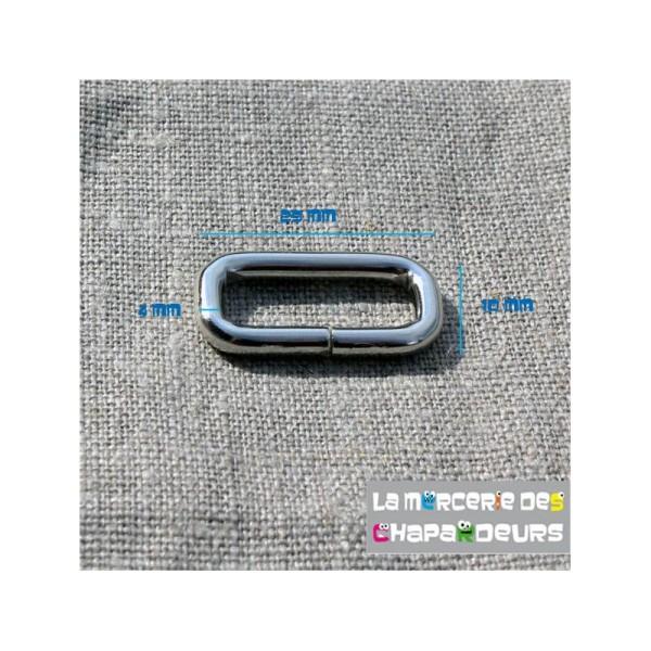 10 Passant rectangulaire acier nickelé 25 mm - Photo n°2