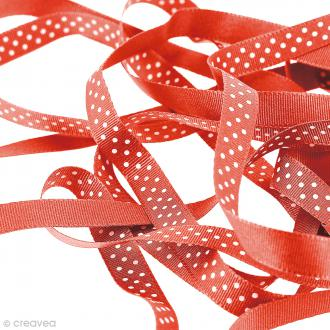 Ruban pois - Rouge - 10 mm - Au mètre (sur mesure)