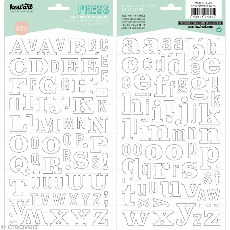 Alphabet autocollant Kesi'Art - Blanc - 2 planches 15 x 32 cm - Photo n°1
