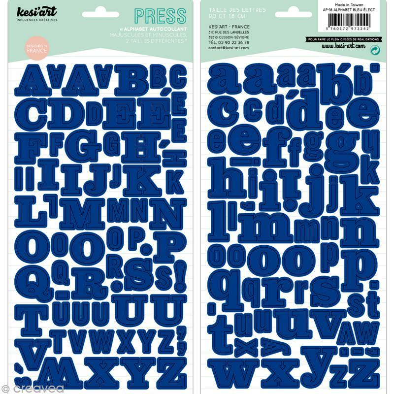 Alphabet autocollant Kesi'Art - Bleu électrique - 2 planches 15 x 32 cm - Photo n°1