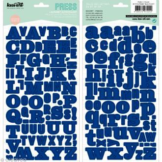 Alphabet autocollant Kesi'Art - Bleu électrique - 2 planches 15 x 32 cm