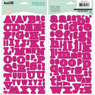 Alphabet autocollant Kesi'Art - Rose fuchsia - 2 planches 15 x 32 cm