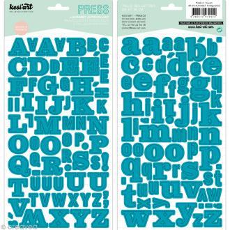 Alphabet autocollant Kesi'Art - Bleu turquoise - 2 planches 15 x 32 cm