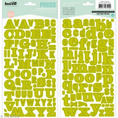 Alphabet autocollant Kesi'Art - Vert - 2 planches 15 x 32 cm - Photo n°1