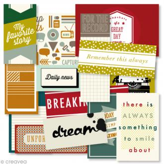 Etiquette journaling carte - Edito anglais - 14 pcs