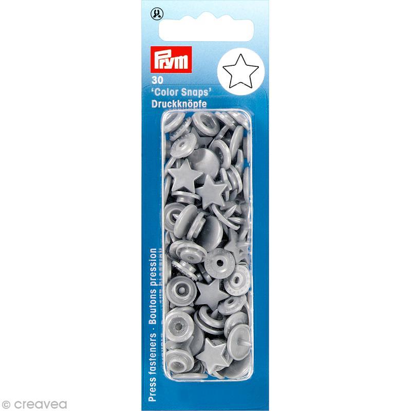 Bouton pression 12 mm - Étoile Gris argenté - 30 pcs - Photo n°1