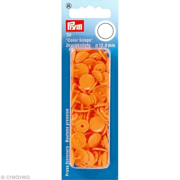 Bouton pression 12,4 mm - Rond Orange - 30 pcs - Photo n°1