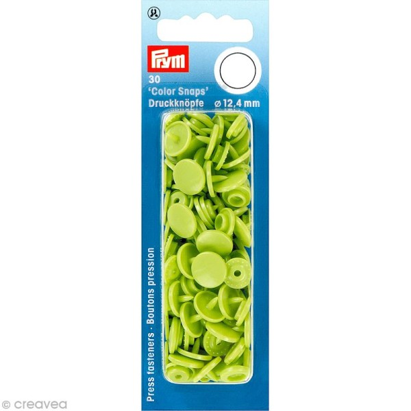 Bouton pression 12,4 mm - Rond Vert pomme - 30 pcs - Photo n°1