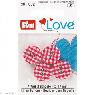 Boutons tissu Prym Love - Rouge - Vichy - 17 mm - 4 pcs
