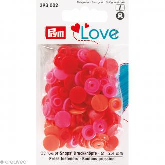Boutons pression Prym Love - Rouge - 12,4 mm - 30 pcs