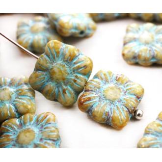 20pcs Blanc Jaune Bleu Turquoise Patine Laver Carré Fleur Plate en Verre tchèque Perles de 9mm