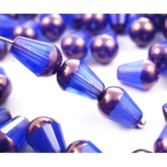20pcs Opale Bleu de Bronze de la Poire à Facettes Feu Poli Larme de Verre tchèque Perles de 8mm x 6m