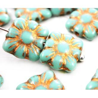 20pcs Turquoise Vert Bronze à Patine Laver Carré Fleur Plate en Verre tchèque Perles de 9mm