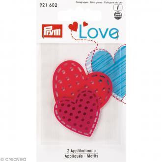 Coeurs en feutrine thermocollante Prym Love - Rouge et rose - 2 pcs