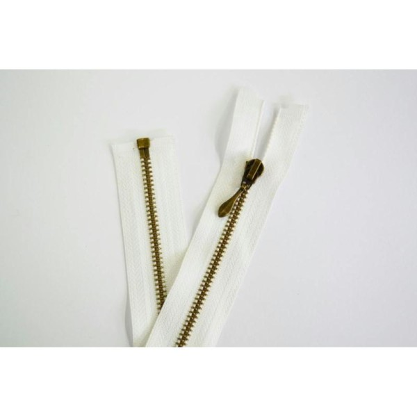 Fermeture métal séparable laiton finition bronze maille 3.5mm coloris blanc - Photo n°1