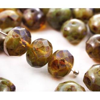 10pcs Picasso Jaune Bleu Mix Plat Rond à Facettes Feu Poli Rondelle Verre tchèque Perles de 9mm x 6m
