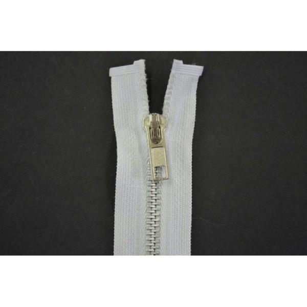 Fermeture non séparable laiton finition argentée maille 5mm coloris blanc 5cm - Photo n°1