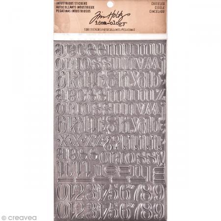Stickers alphabet métallique - Vintage - Ciselé - 138 pcs - Photo n°1