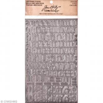 Stickers alphabet métallique - Vintage - Ciselé - 138 pcs