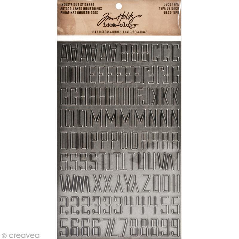 Stickers alphabet métallique - Vintage - Capitale - 114 pcs - Photo n°1