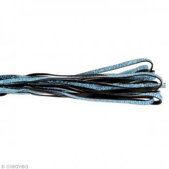 Cordon cuir 5 mm plat à paillettes - Bleu - Au mètre (sur mesure)