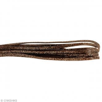 Cordon cuir 5 mm plat à paillettes - Marron - Au mètre (sur mesure)