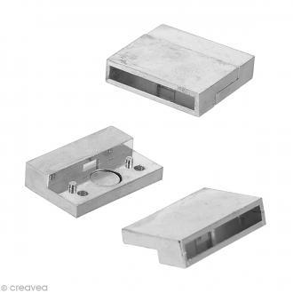 Fermoir aimanté argenté - Rectangle multi-rangs - 2,3 cm - 1 pce